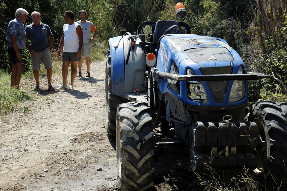 El tractor accidentat a Torrelameu