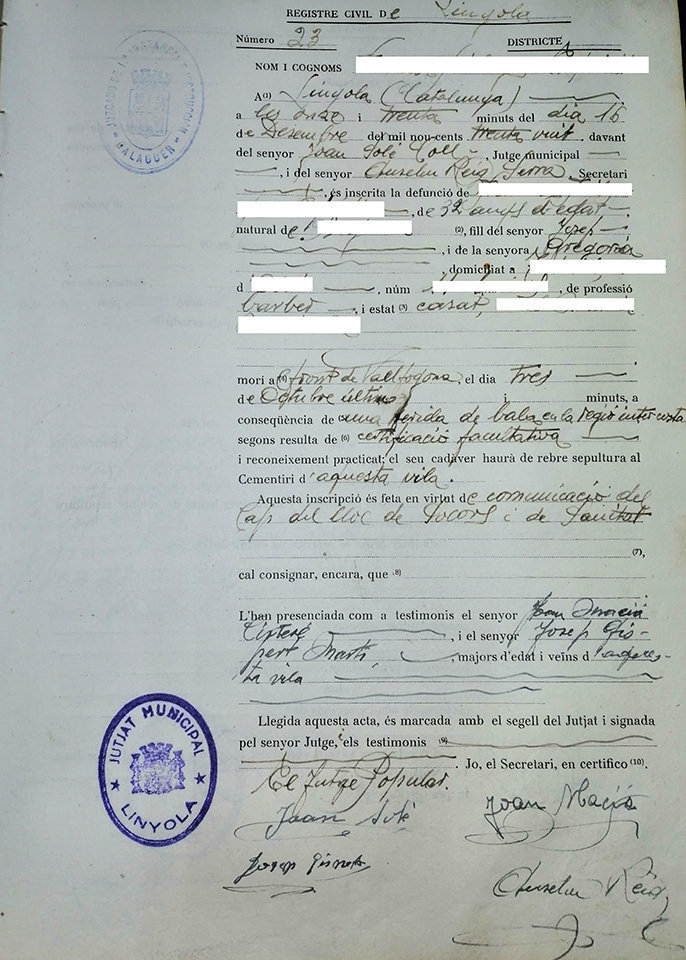 Document enterrament Linyola desembre 1938